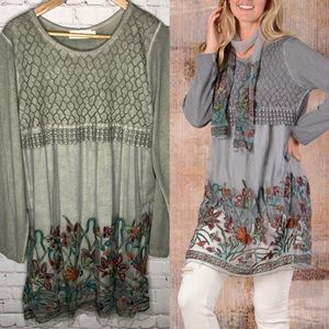 NEW Simply Couture Boho Floral Lace Tunic Top